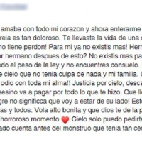 "La hermana del presunto femicida de Cielo López al detenido: ""Te odio con toda mi alma"""